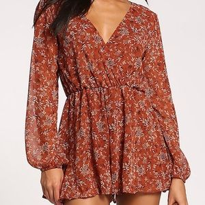 . Give Thanks Fall Rust Long Sleeve Floral Romper